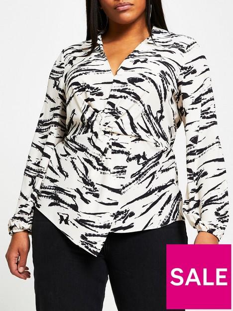 ri-plus-tina-twist-front-blouse-multi