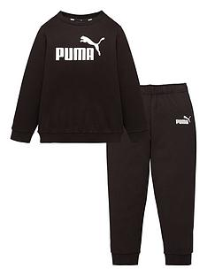 prod1090313946: Childrens Minicats Essential Crew Jogger Set - Black