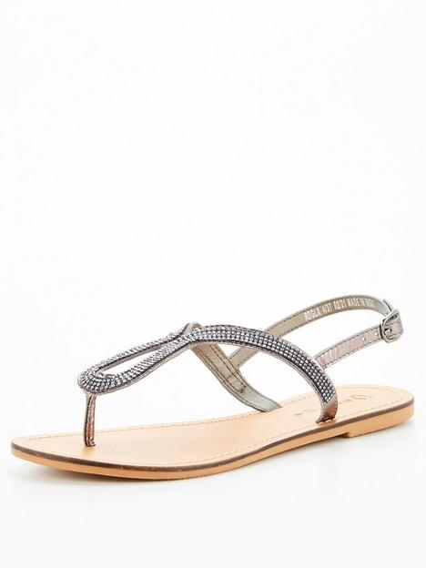 v-by-very-leather-embellished-loop-toepost-sandal-pewter