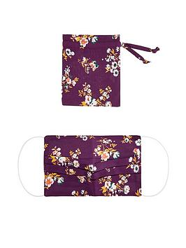 monsoon-pleated-floral-print-face-covering-with-pouch-burgundy
