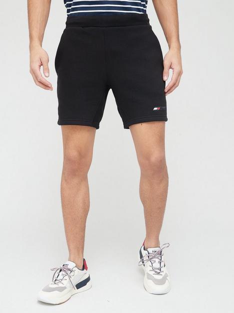 tommy-sport-logo-fleece-shorts-black
