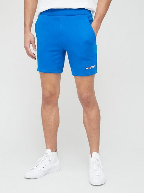 tommy-sport-logo-fleece-shorts-blue