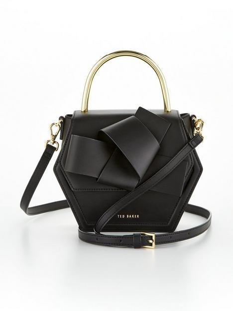 ted-baker-mini-hexagon-metal-top-handle-cross-body-bag-black