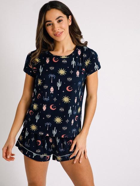 chelsea-peers-shorts-pyjama-set-navy