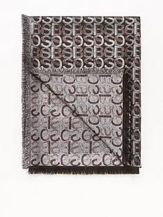 boss-larizza-all-over-logo-scarf-black