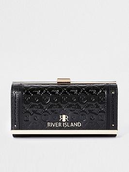 river-island-embossed-patent-cliptop-purse-black