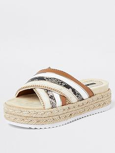 river-island-cross-espadrille-flat-sandal-brown