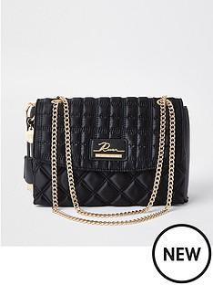 river-island-quilted-satchel-shoulder-bag-black