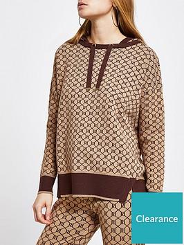 river-island-monogram-knitted-hoodie-brown