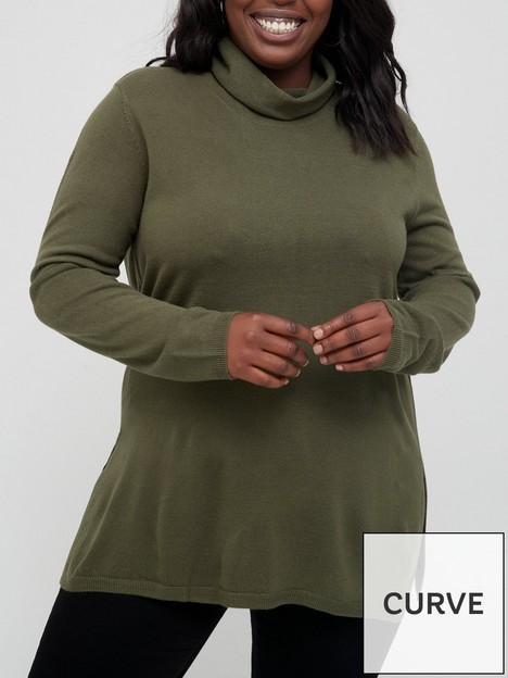 v-by-very-curve-high-neck-side-split-jumper-khaki