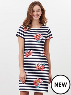 joules-printed-dress-with-short-sleeves-navy-stripe