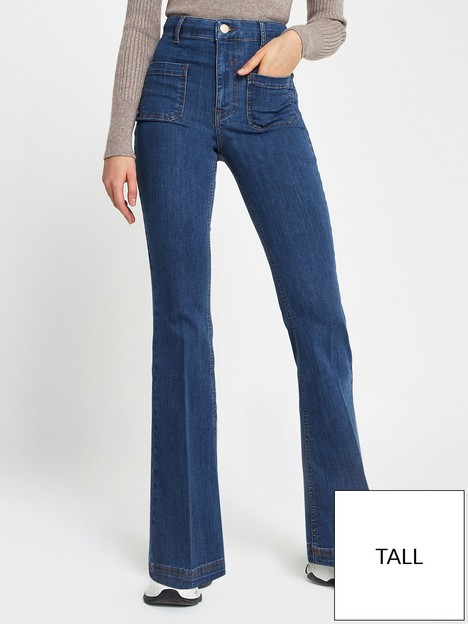 river-island-tall-pocket-front-flare-jean-mid-blue
