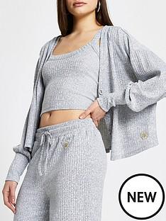 river-island-long-sleeve-rib-lounge-cardigan-amp-vest-set-grey