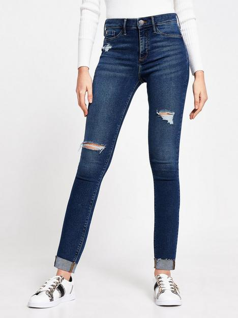 river-island-ripped-molly-mid-rise-jegging-dark-blue