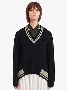 fred-perry-cable-v-neck-knitted-jumper-navy