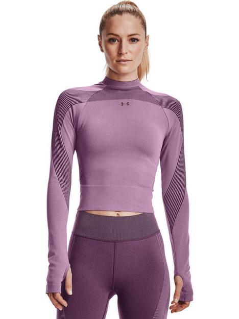 under-armour-rush-seamless-long-sleeve-top-purpleblack