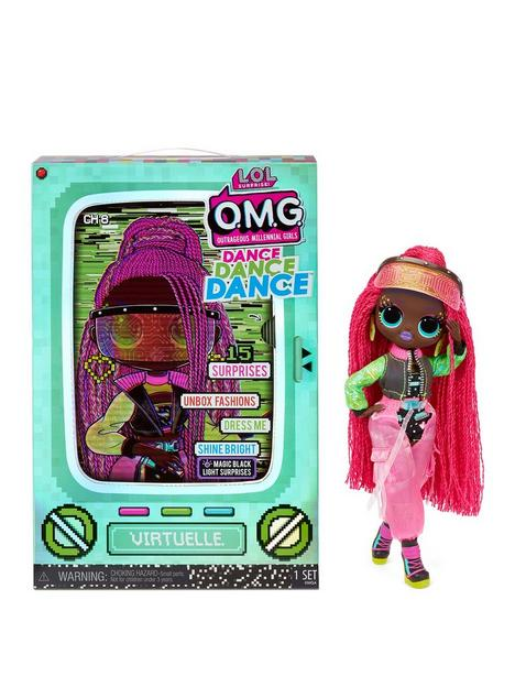 lol-surprise-omg-dance-dance-dance-virtuelle-fashion-doll-with-15-surprises-including-magic-blacklight-shoes-hair-brush-doll-stand-and-tv-package