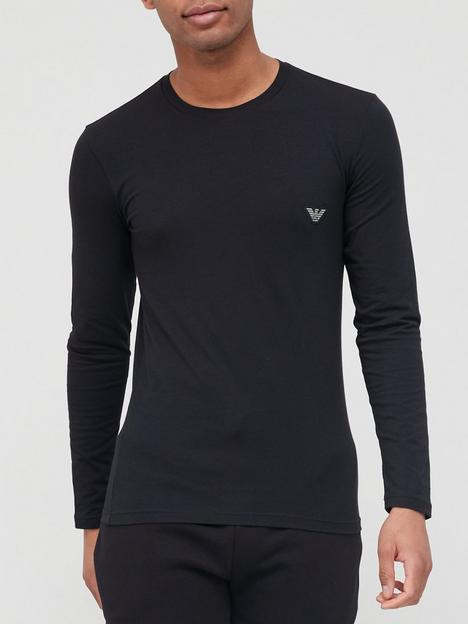 emporio-armani-bodywear-patch-eagle-lounge-long-sleeve-slim-fit-t-shirt--nbspblack
