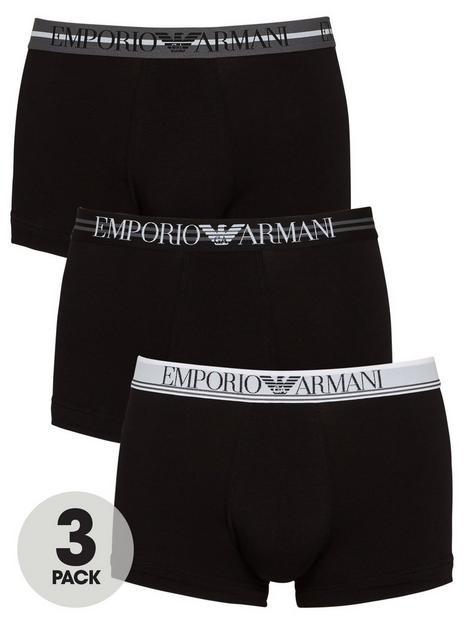 emporio-armani-bodywear-3-pack-stretch-cotton-mixed-waistband-trunks-black