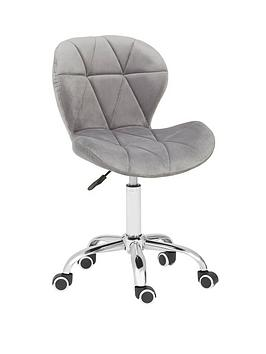 premier-housewares-geanie-velvet-office-chair--grey