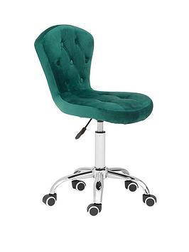 premier-housewares-amelie-velvet-office-chair--green