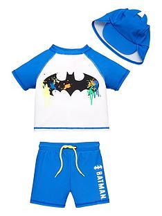 batman-boysnbsp3-piece-raglan-spf40-sunsafe-and-hat-set-blue
