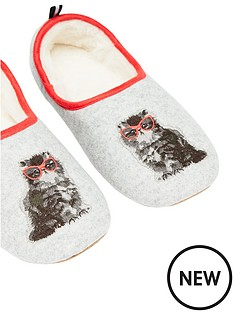 joules-cat-slippet-slippers-grey