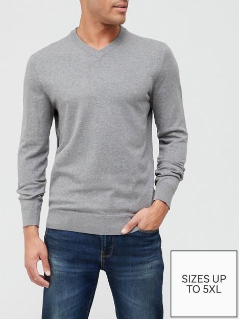very-man-cotton-rich-v-neck-grey-marlnbspnbsp
