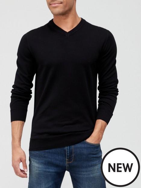 very-man-cotton-rich-v-neck-blacknbsp