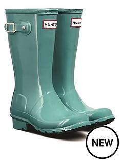 hunter-kids-gloss-wellington-boots-blue