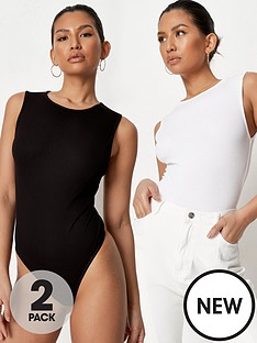 missguided-missguided-ribbed-sleeveless-bodysuit-2-pack-multi