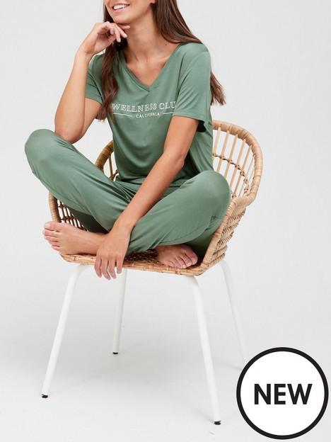 v-by-very-wellness-club-v-neck-jogger-pyjamas-green