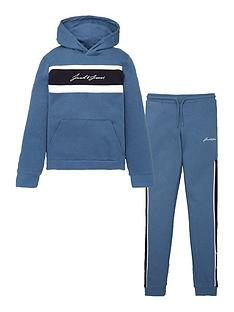 jack-jones-junior-boys-script-logo-hoodie-and-jog-set-ensign-blue