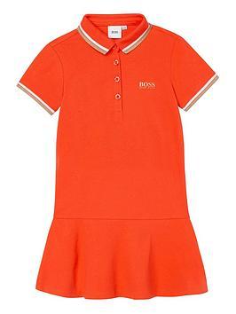 boss-girls-short-sleeve-polo-dress-peach