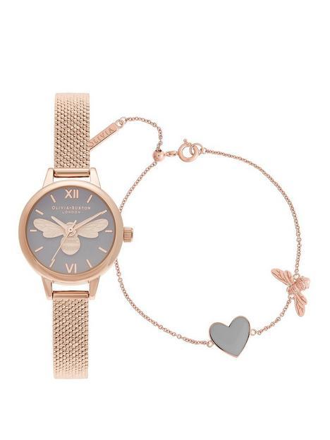 olivia-burton-olivia-burton-lucky-bee-mini-lucky-bee-grey-dial-rg-boucle-mesh-watch-you-have-my-heart-bracelet-giftset