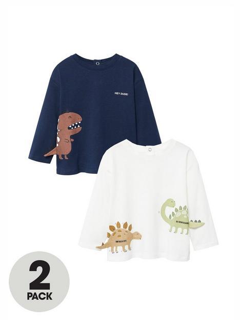 mango-baby-boys-2-pack-dino-long-sleeve-t-shirts-multi