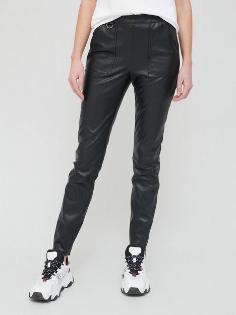 armani-exchange-faux-leather-trousers-black