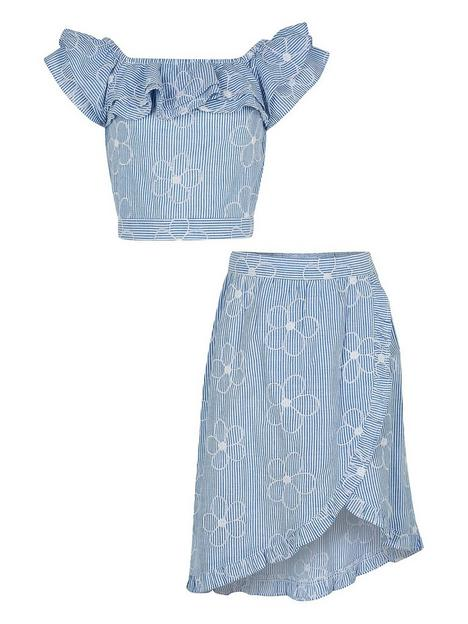 river-island-girlsnbspticking-stripe-skirt-and-frill-top-set-blue