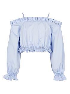 river-island-girls-cold-shoulder-bardot-shirt-blue