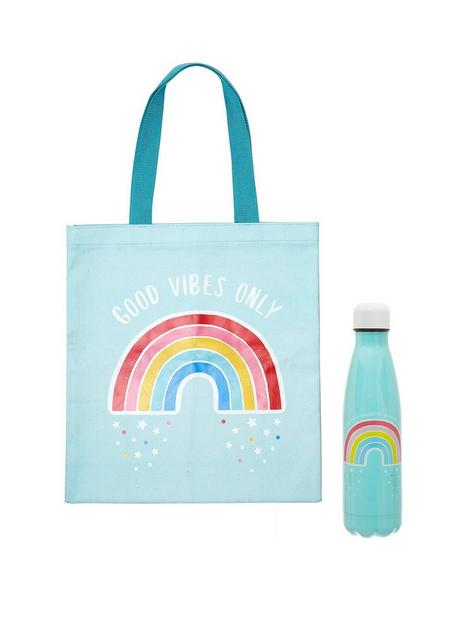sass-belle-chasing-rainbows-stainless-steel-water-bottle-and-tote-bag-bundle