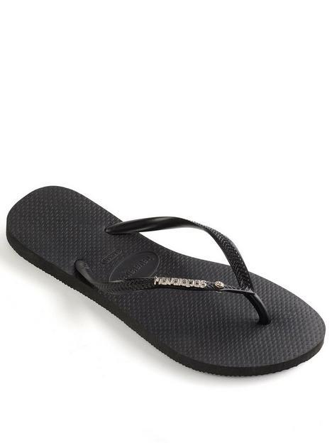 havaianas-slim-metal-logo-and-crystal-flip-flop--nbspblack