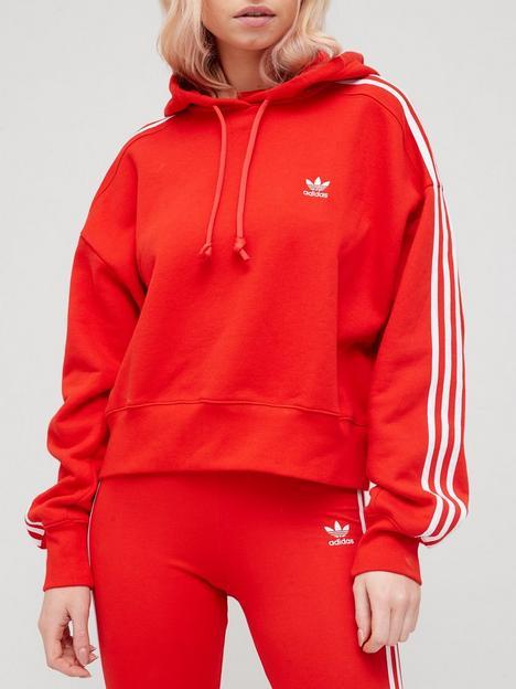 adidas-originals-3-stripe-cropped-hoodie-red