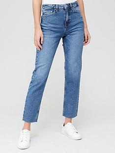 v-by-very-short-premium-high-waist-straight-jean-mid-wash