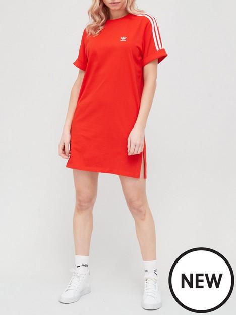 adidas-originals-3-stripe-t-shirt-dress-red