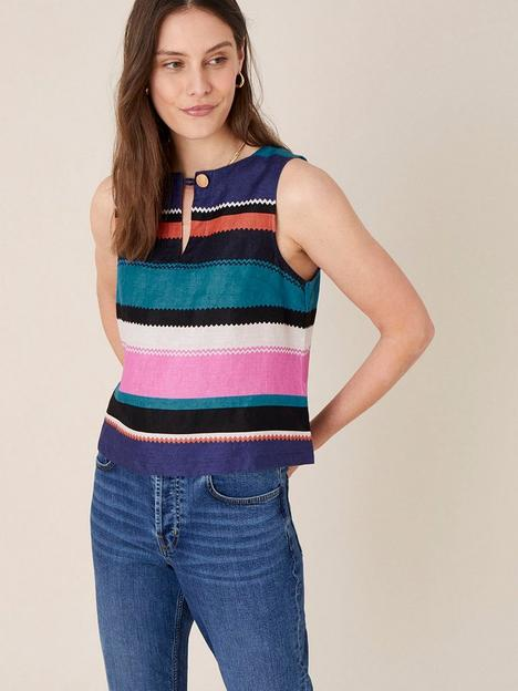 monsoon-katia-linen-stripe-top-black