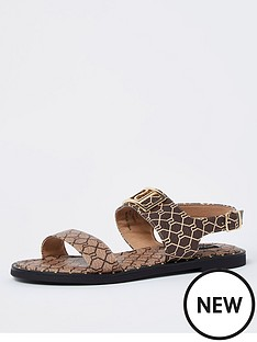 river-island-wide-fit-monogram-two-part-sandal-brown