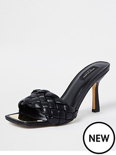 river-island-wide-fit-woven-heeled-mule-sandal-black