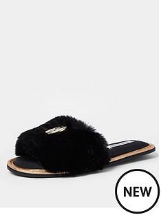 river-island-faux-fur-open-toenbspmule-slipper-black