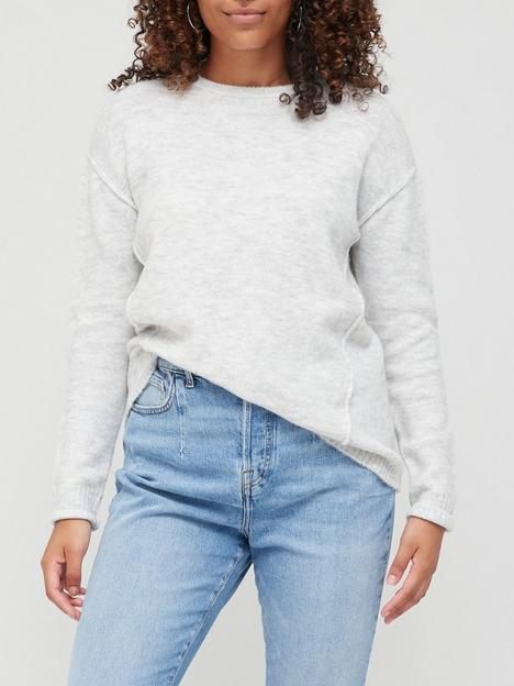 v-by-very-knitted-seam-detail-crew-neck-jumper-light-grey-marl