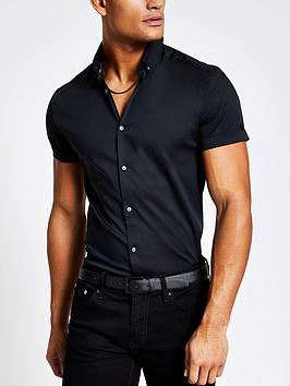 river-island-muscle-fit-short-sleeve-shirt-black